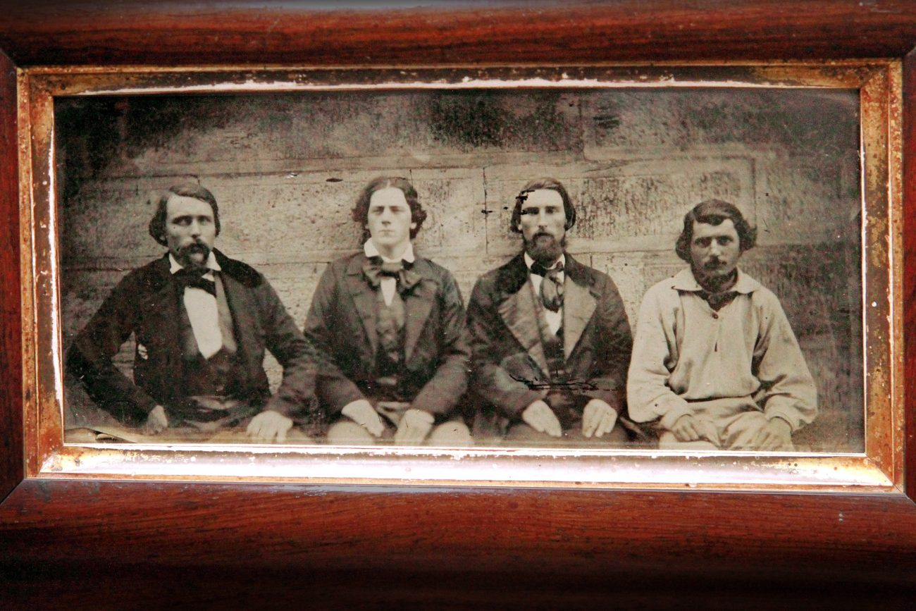 Framed ambrotype photograph of four of the mutineers from the American whaling ship Junior.